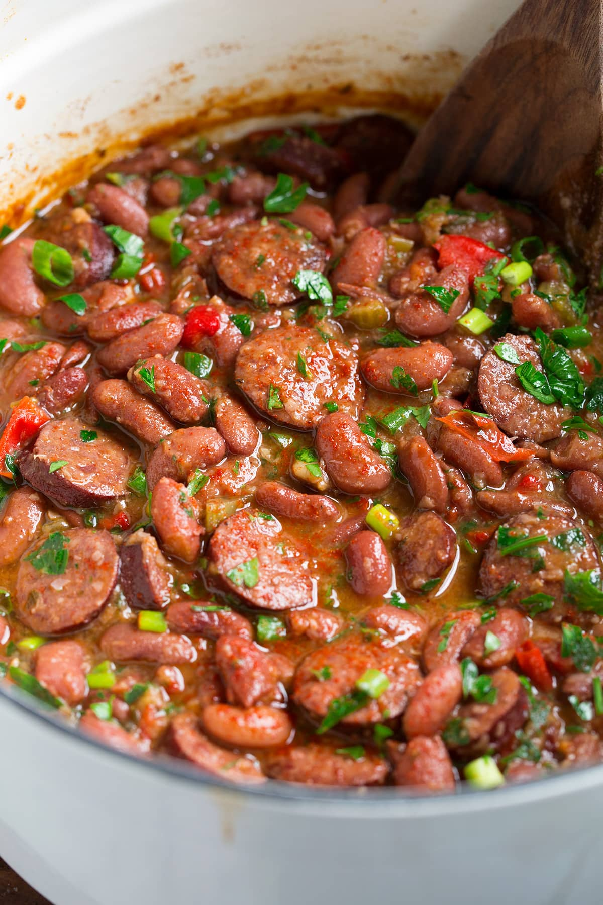 Close up image of red beans and rice.