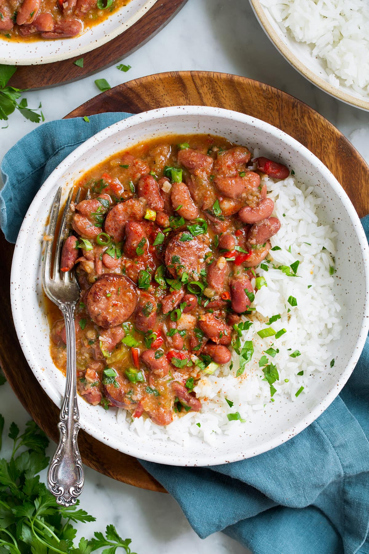 Red beans and rice in a large single serve bowl.