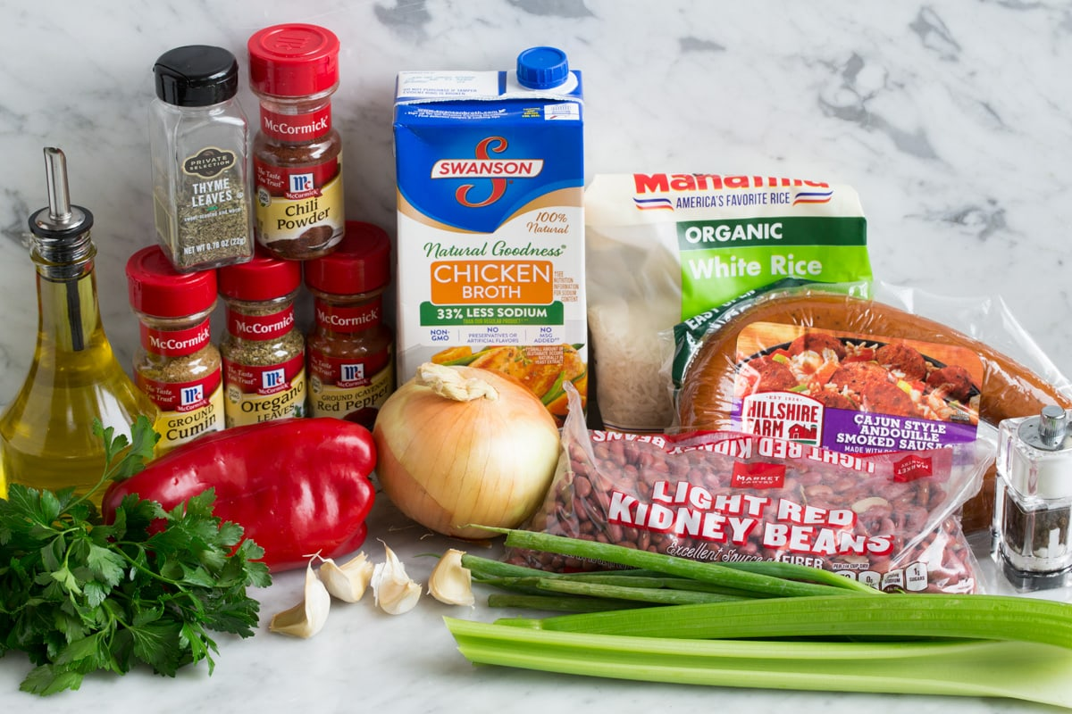 Ingredients to make red beans and rice