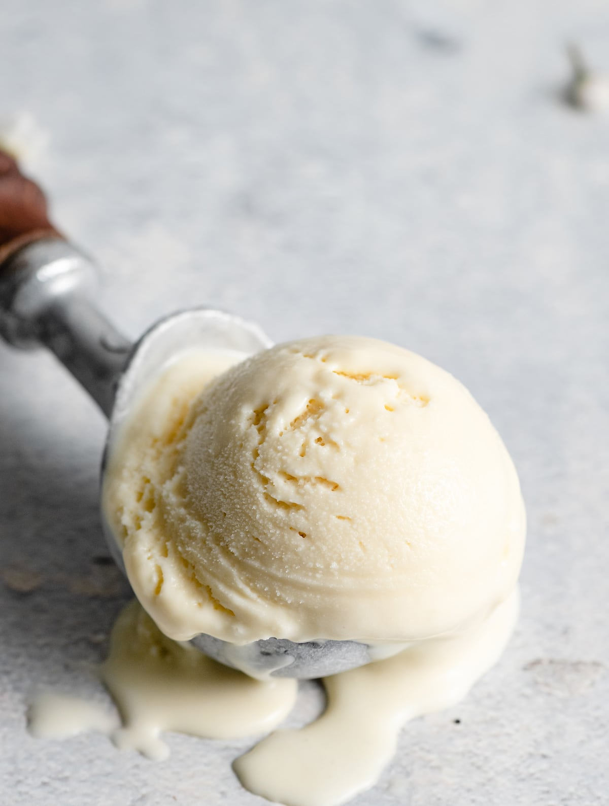 Scoop of homemade vanilla ice cream.
