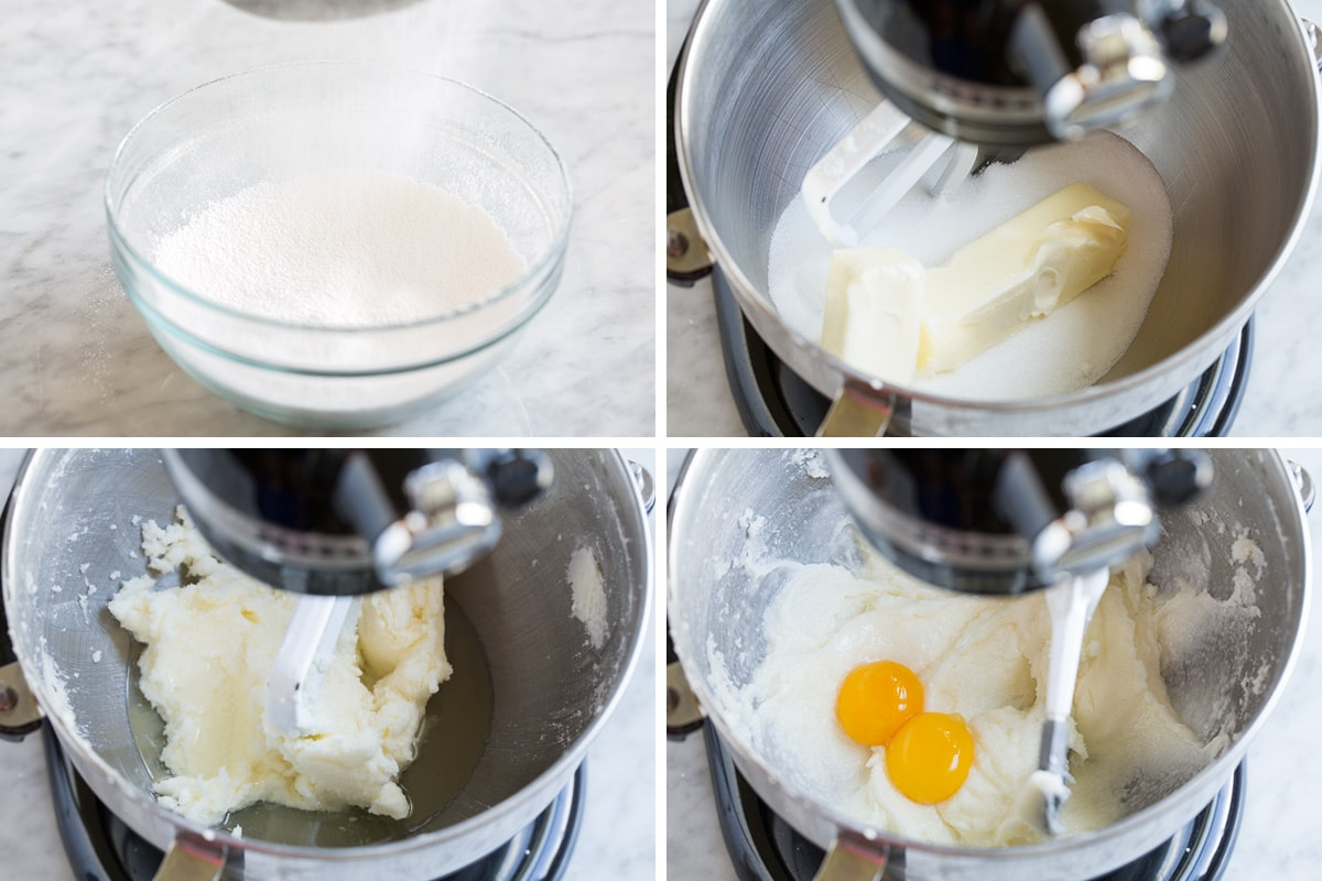 Showing the steps of how to make a birthday cake in an electric stand mixer. Including sifting cake, cream butter and adding egg yolks.