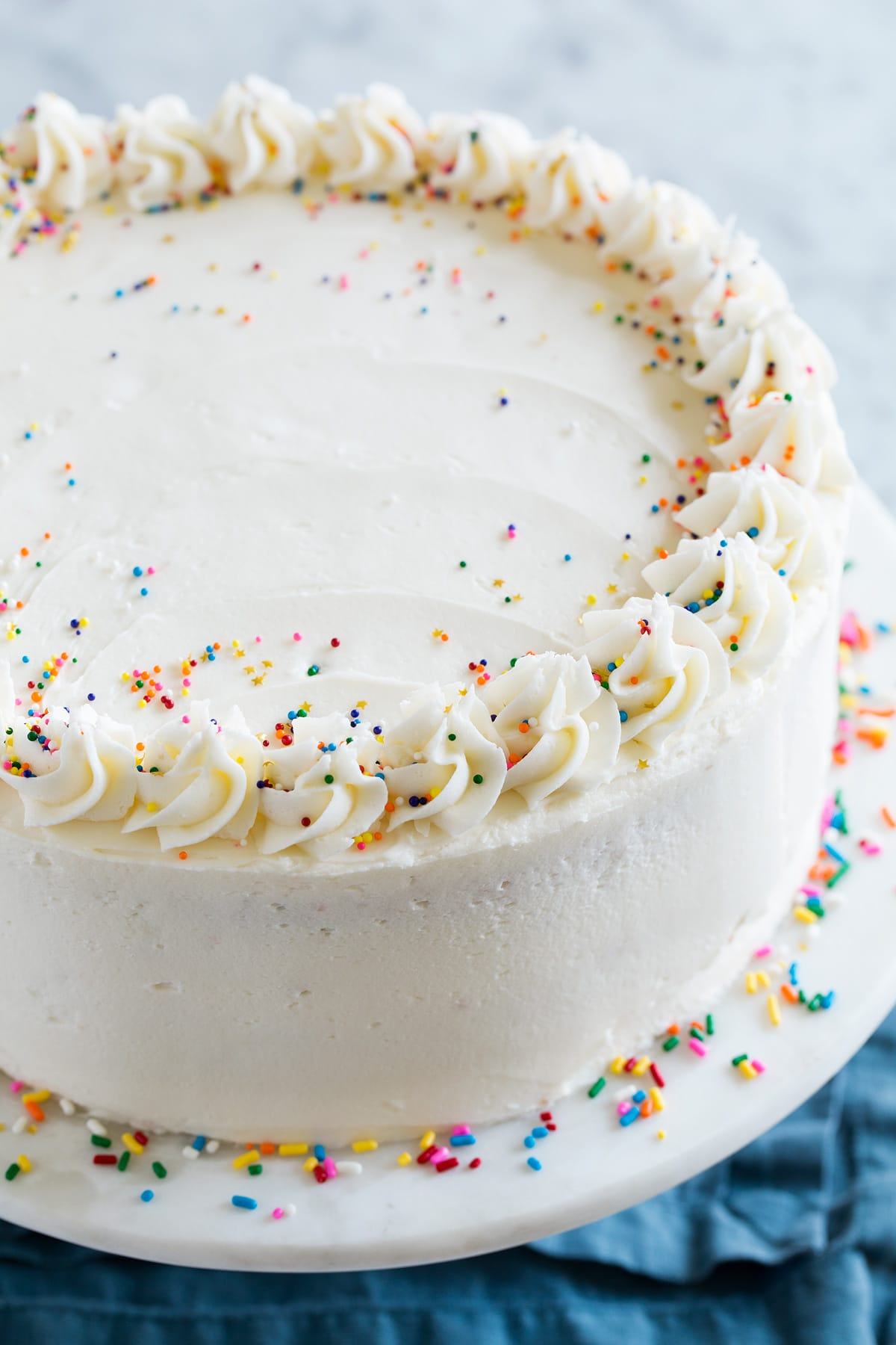 Close up image of a whole funfetti birthday cake