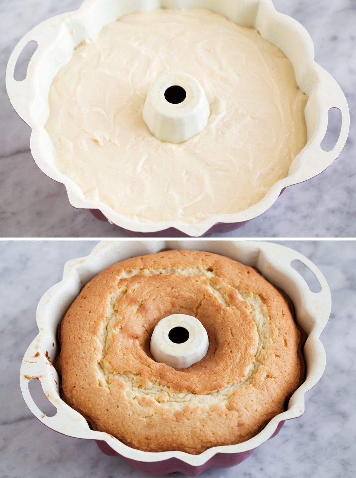 Pound cake batter in a bundt pan before and then shown after baking.