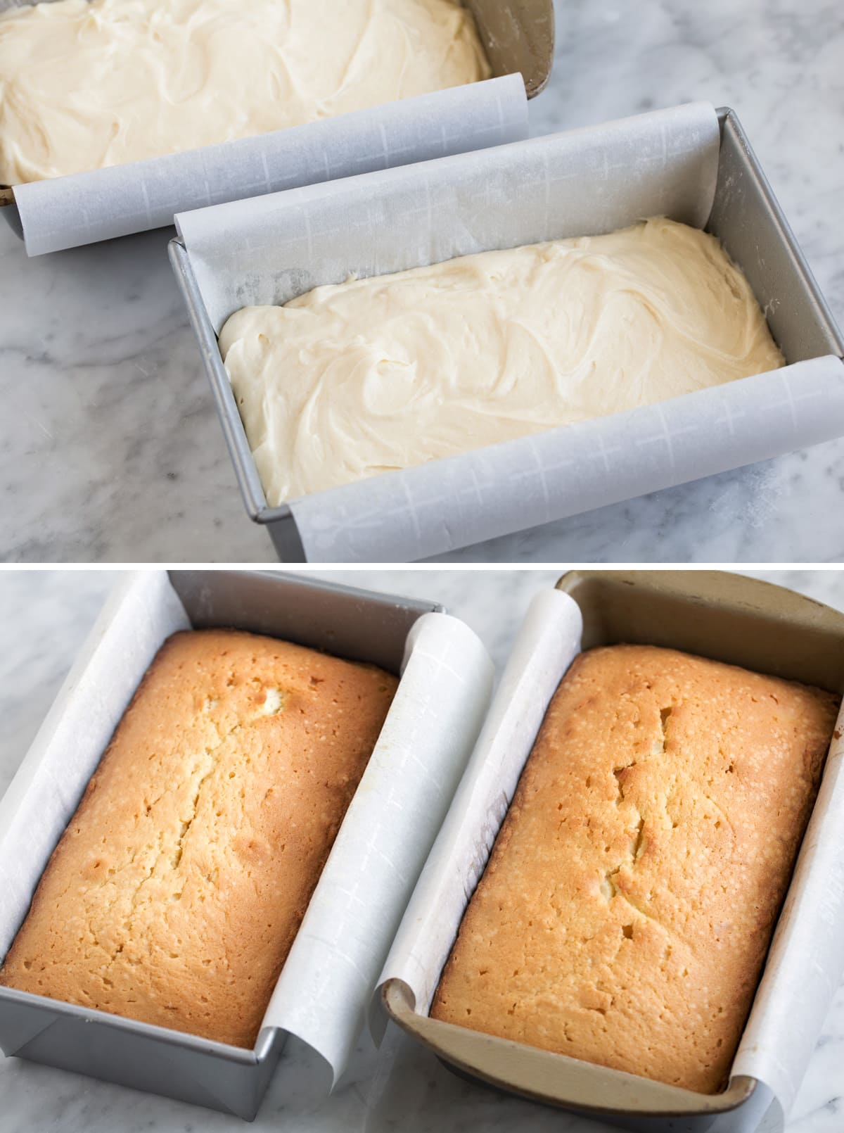 Pound cake batter in two parchment paper lined loaf pans before baking then shown after baking.