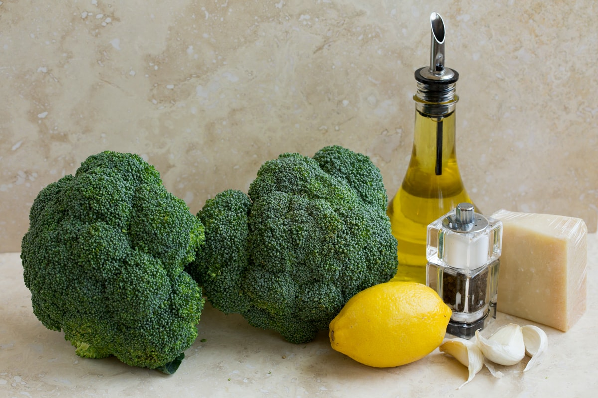 Ingredients to make roasted broccoli