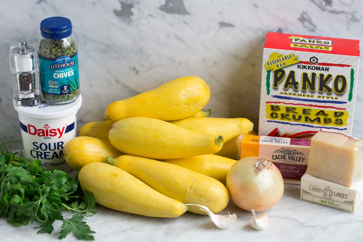Ingredients needed to make squash casserole shown here.