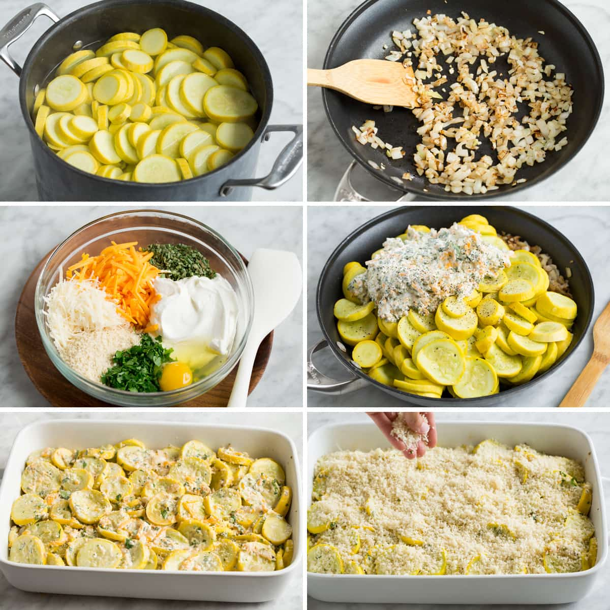 Steps showing how to make squash casserole.
