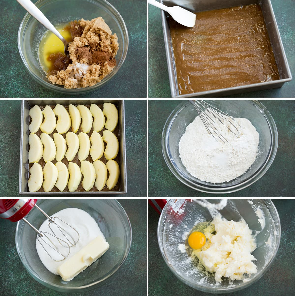 Steps showing how to make apple upside down cake toppings