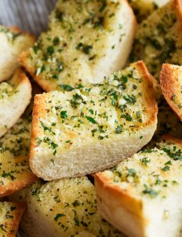 Close up image of sliced garlic bread.