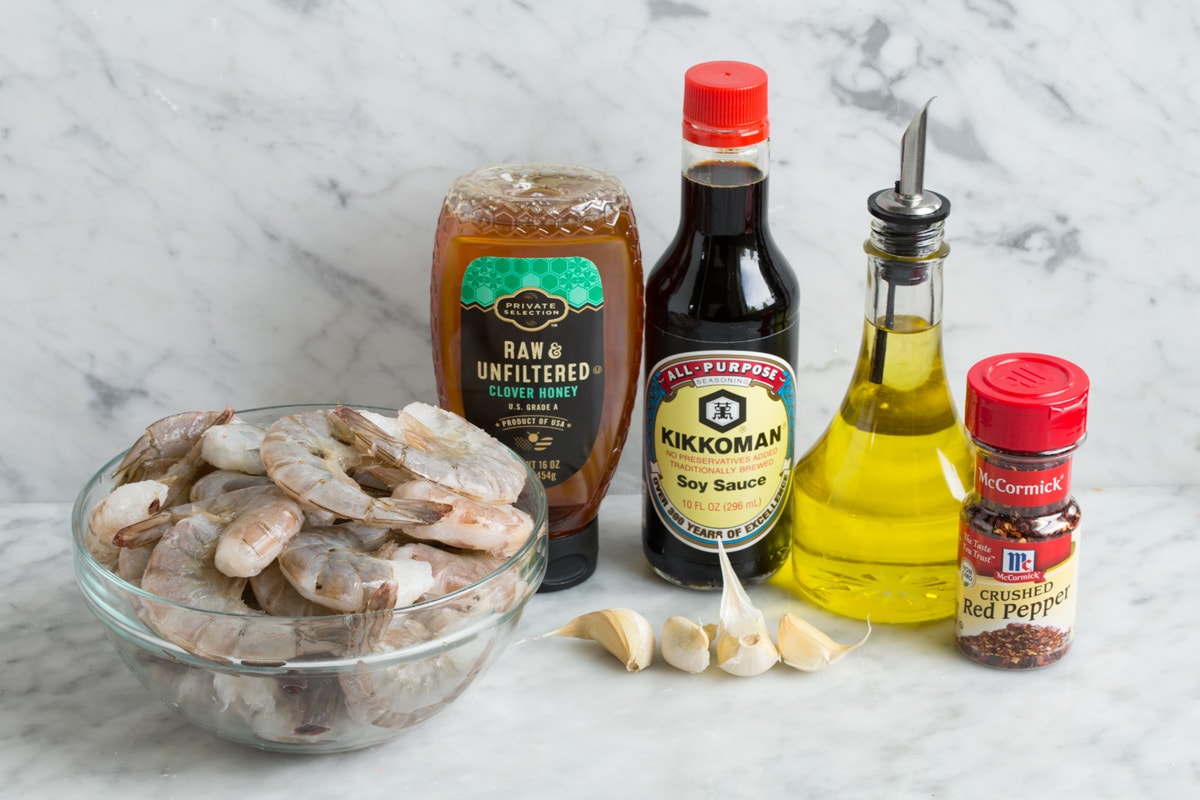 Grilled shrimp and marinade ingredients.