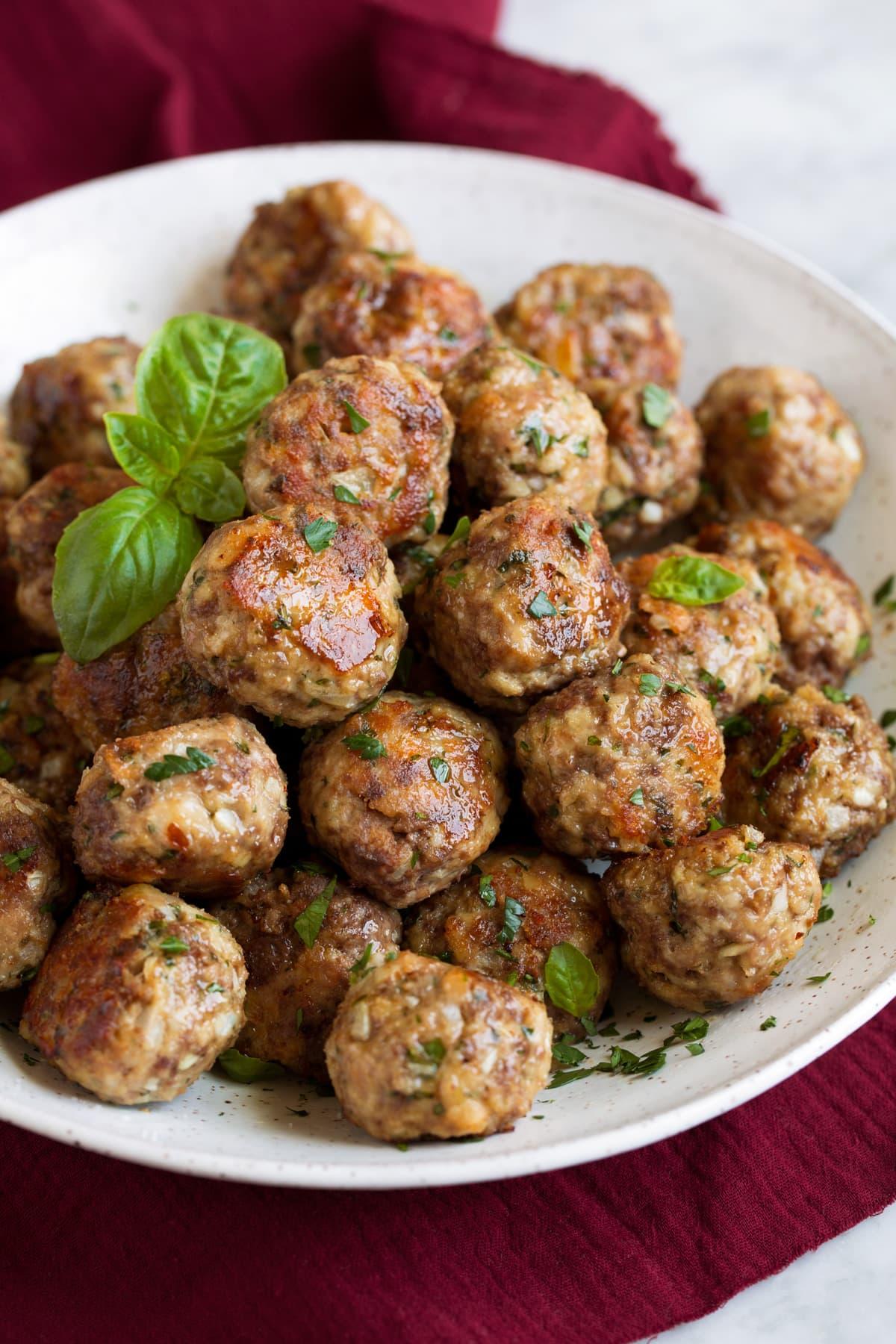 Bowl full of plain meatballs.