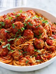 Bowl full of spaghetti and meatballs.
