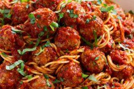 Bowl full of spaghetti and meatballs.