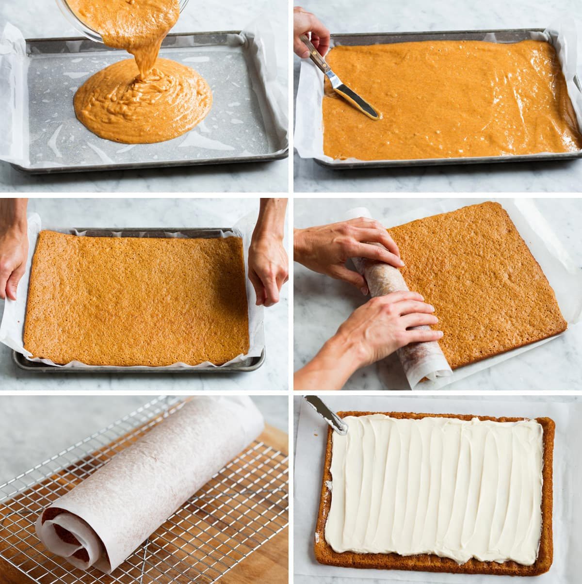 Showing how to prep a pumpkin roll in a jelly roll pan for baking. Then showing how to roll and frost it.