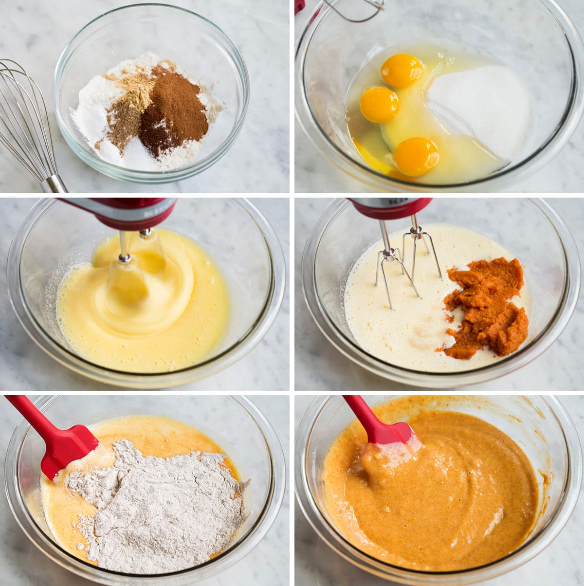 Showing steps of how to make a pumpkin roll. Mixing ingredients in a glass mixing bowl with an electric mixer and spatula.