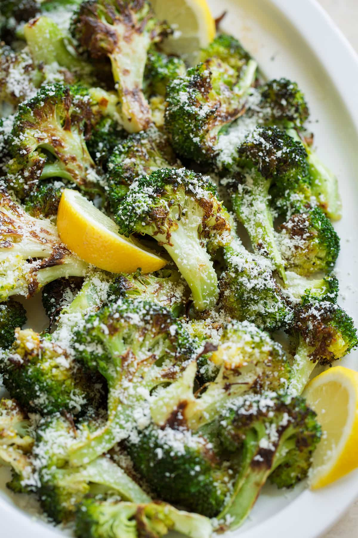 Roasted broccoli with parmesan and lemon served over top.