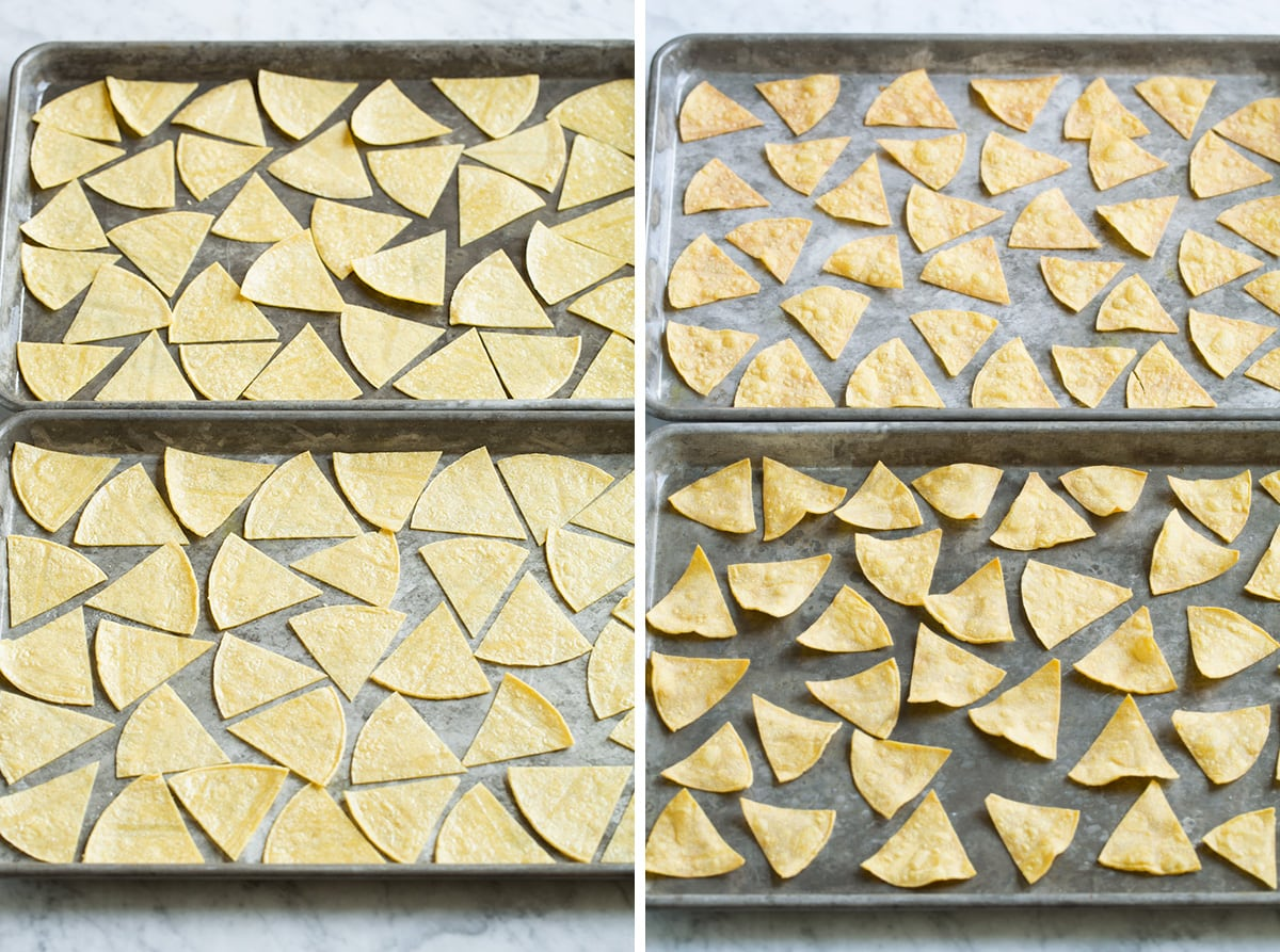 Baked tortilla chips before and after cooking.