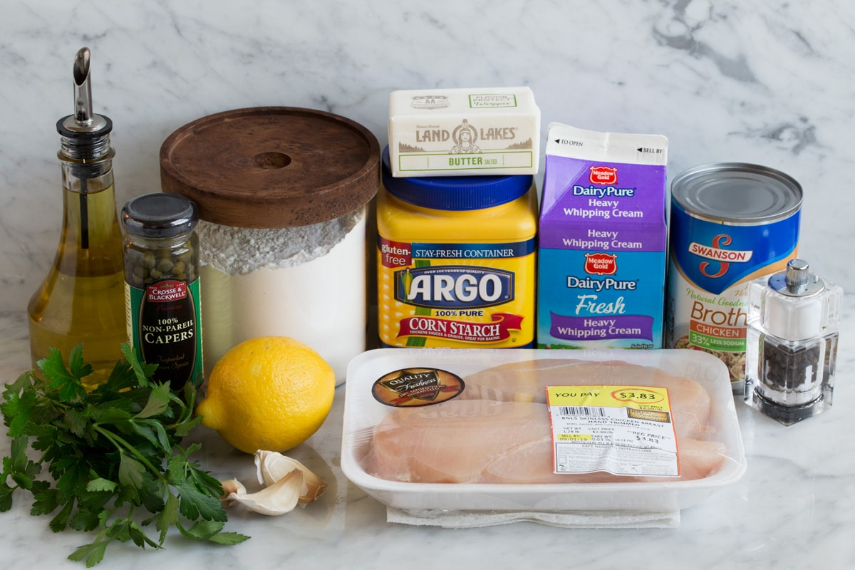Image of ingredients that are used to make Chicken Piccata.