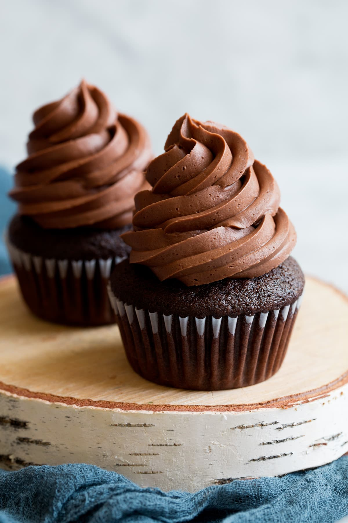 Chocolate buttercream frosting on top of chocolate cupcake