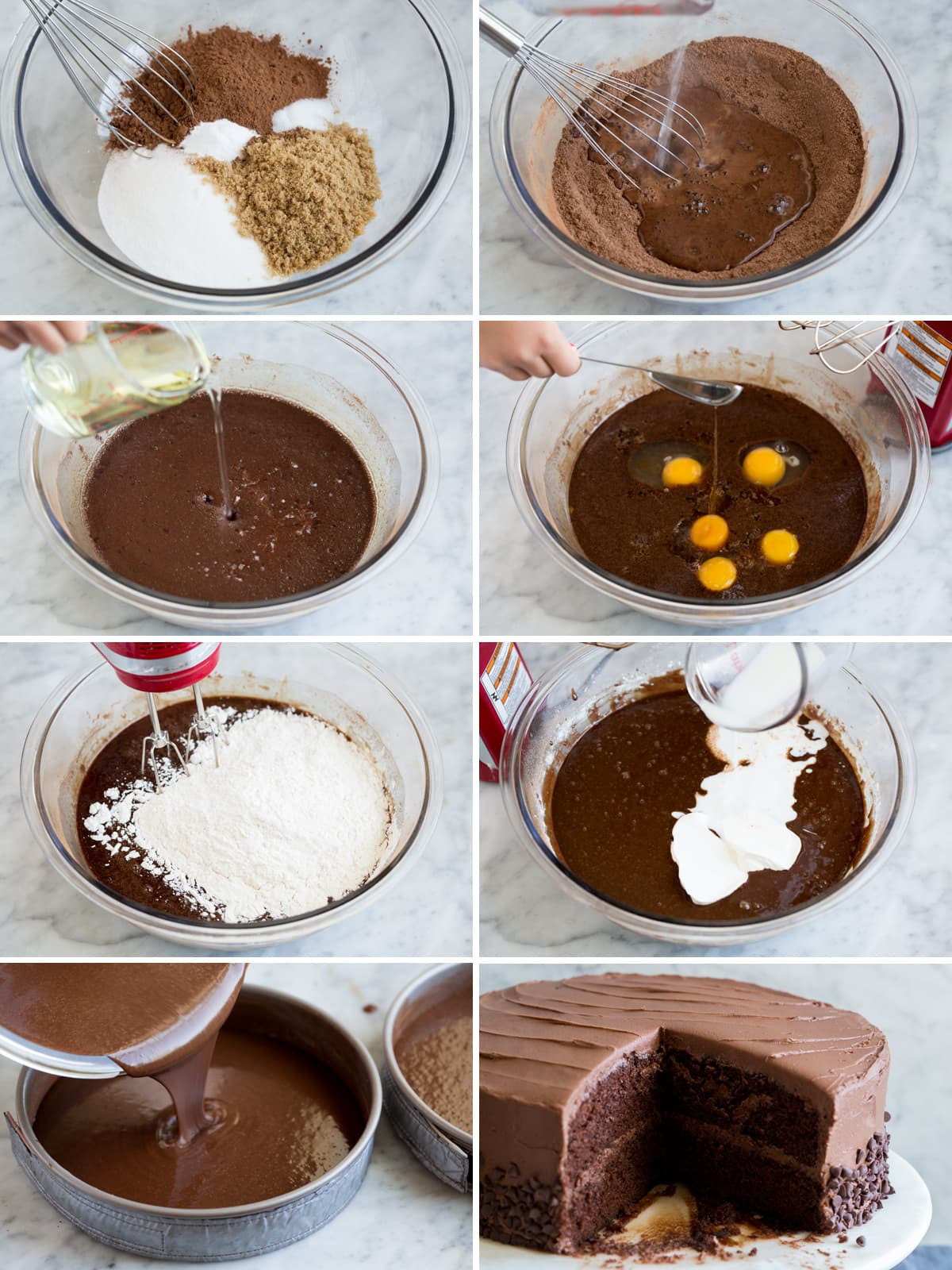 Steps to making chocolate cake