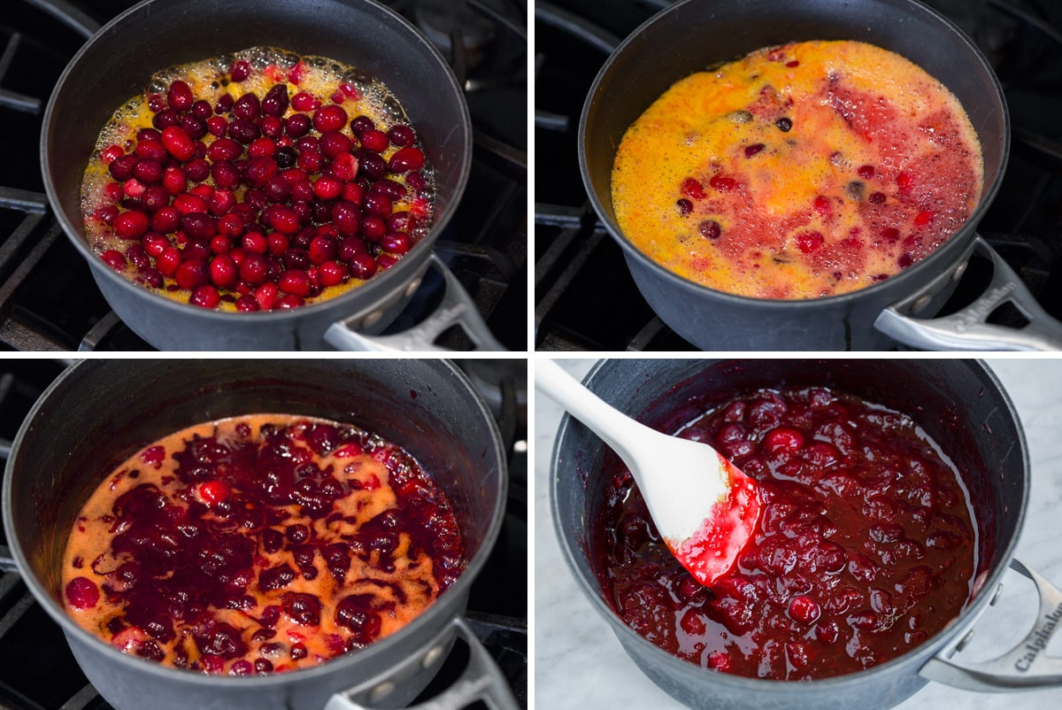 Stages of cranberry sauce simmering on stovetop shown here.