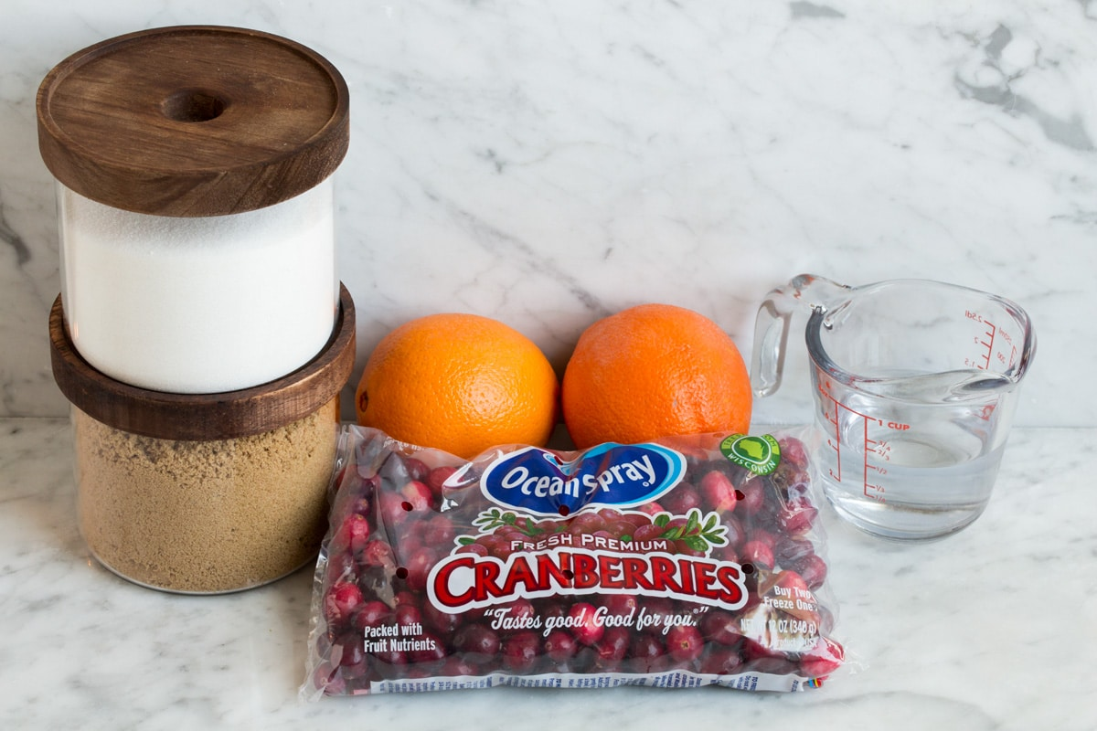 Ingredients needed to make cranberry sauce shown here.