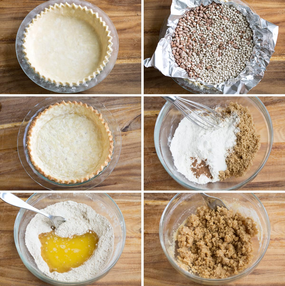 Showing steps to make a dutch apple pie including how to blind bake the crust, and make the crumb topping.
