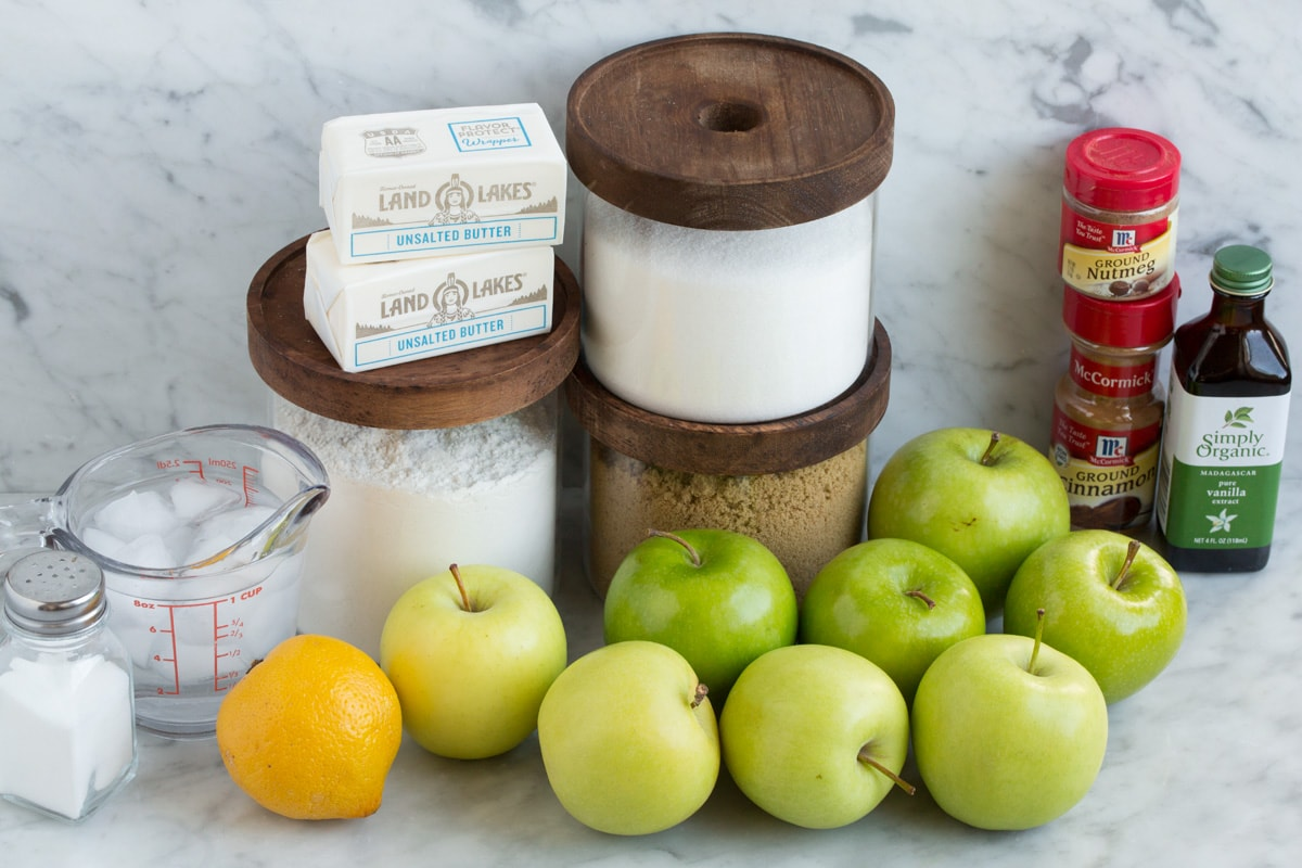 Ingredients needed for dutch apple pie shown here.