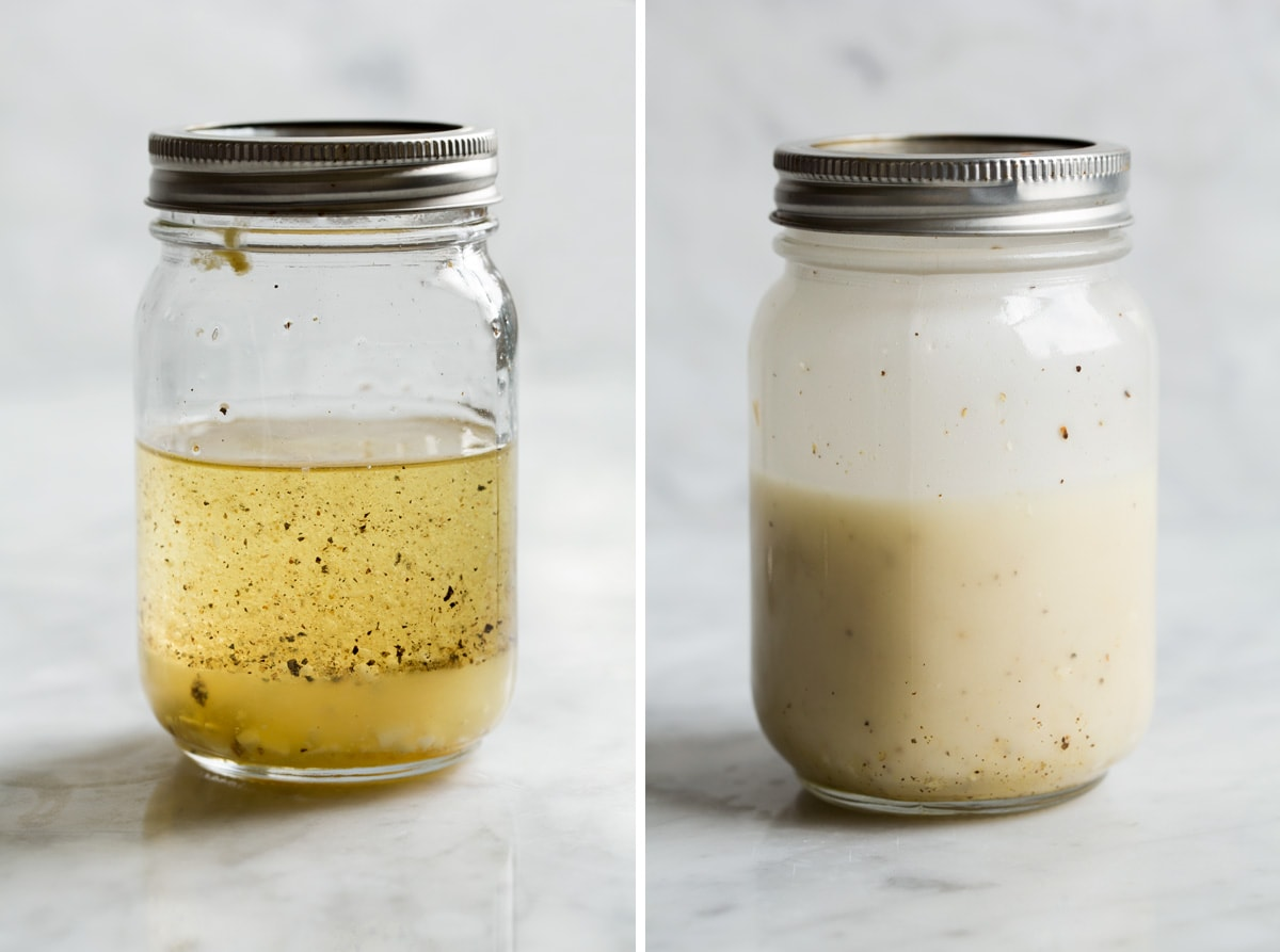 Lemon vinaigrette dressing in a glass jar shown before and after mixing.