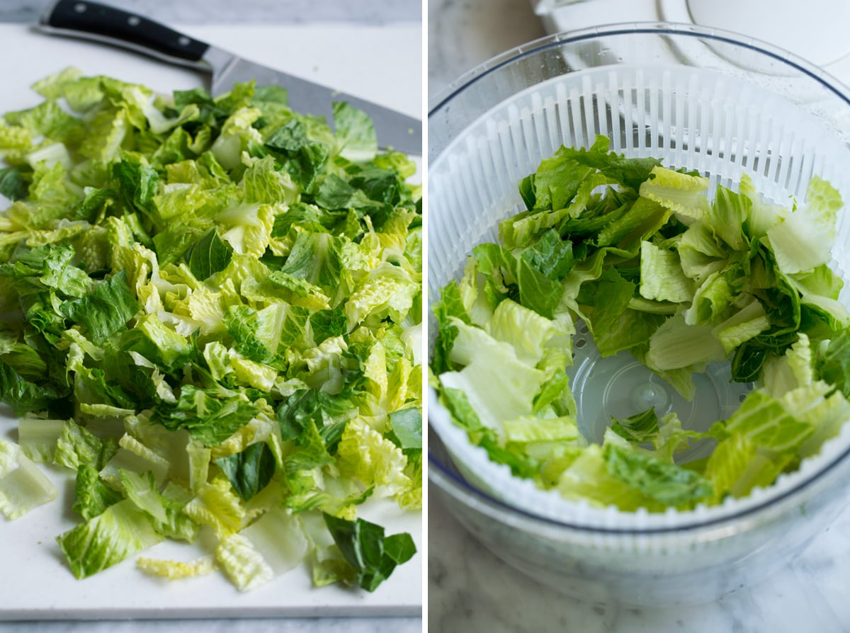 Chopping lettuce and spinning in a salad spinner.
