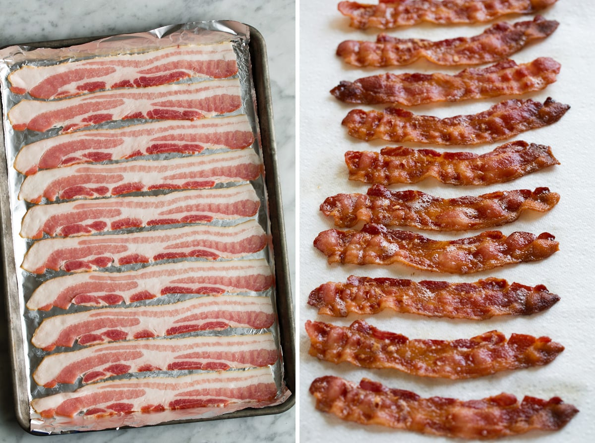 Strips of bacon on a foil lined baking sheet shown on the left then on the right bacon strips are cooked and sitting on a paper towel to drain.