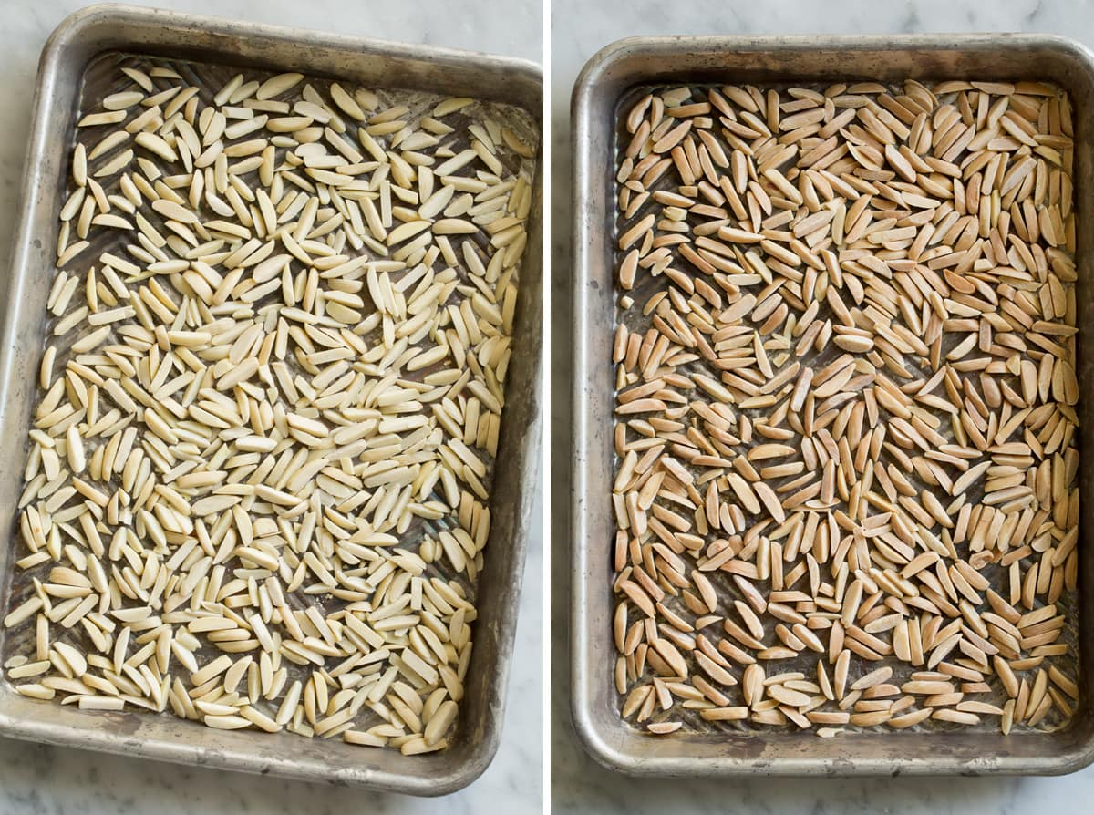 Slivered almonds on a small baking sheet shown before and after toasting.