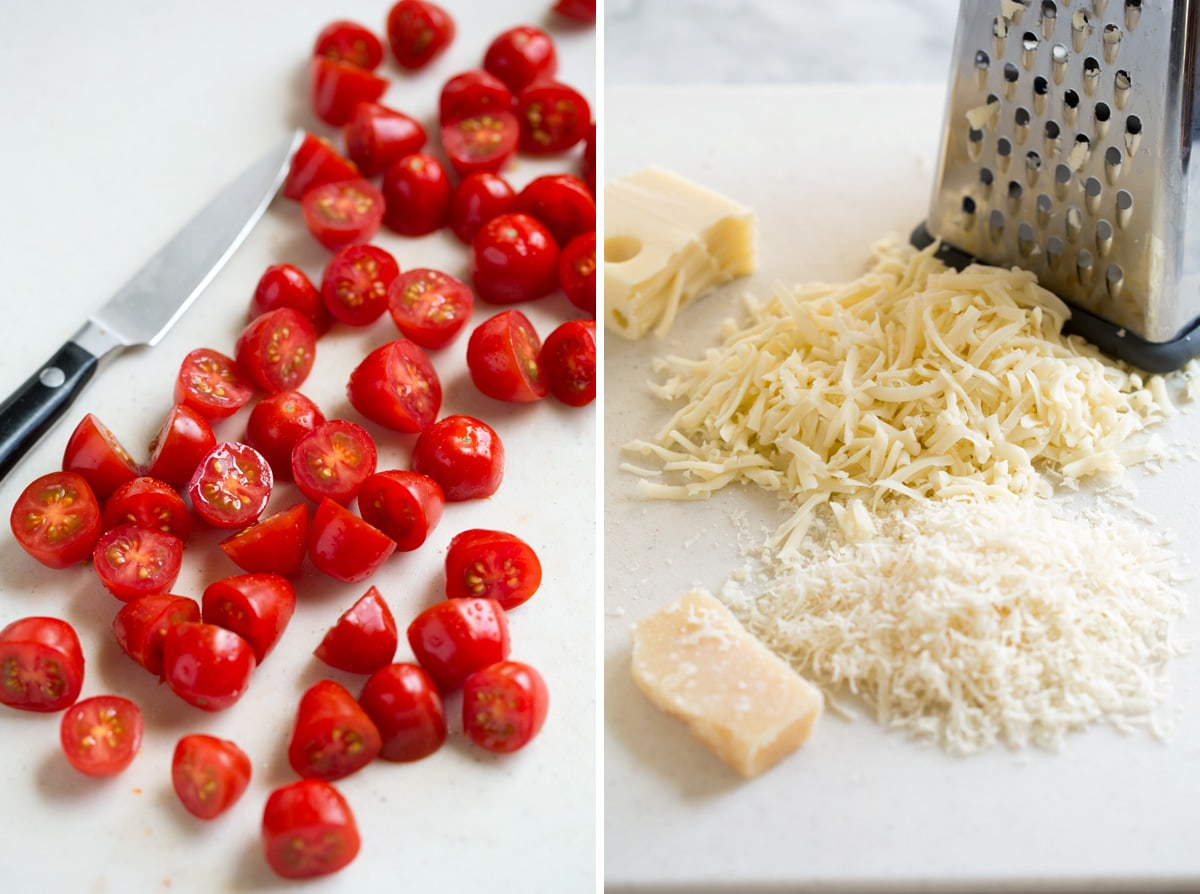 Chopping grape tomatoes in half on left side of image, second image on right shows shredding cheeses.