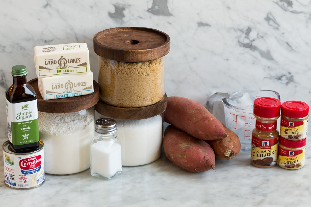 Ingredients for sweet potato pie and pie crust.