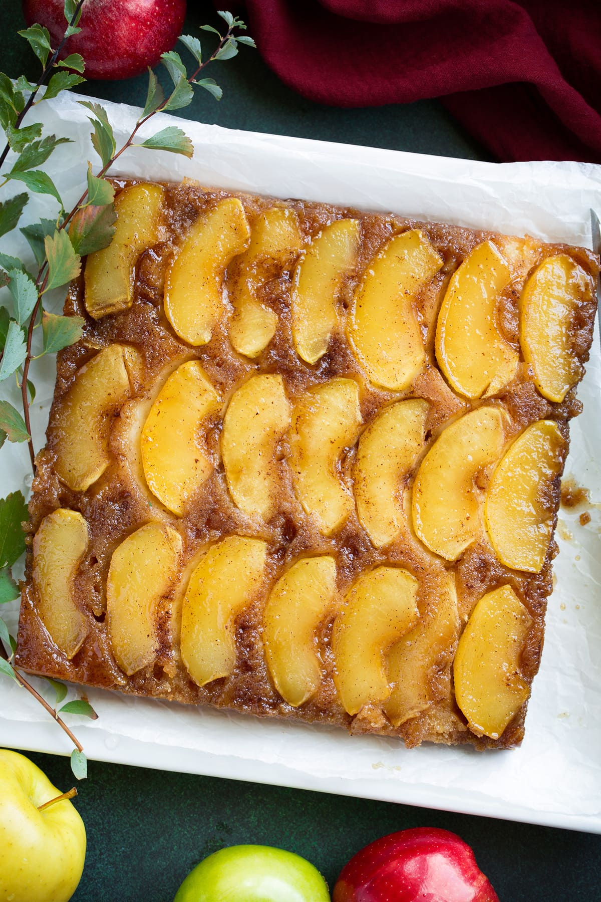 Apple upside down cake with rows of apple slices shown on top.