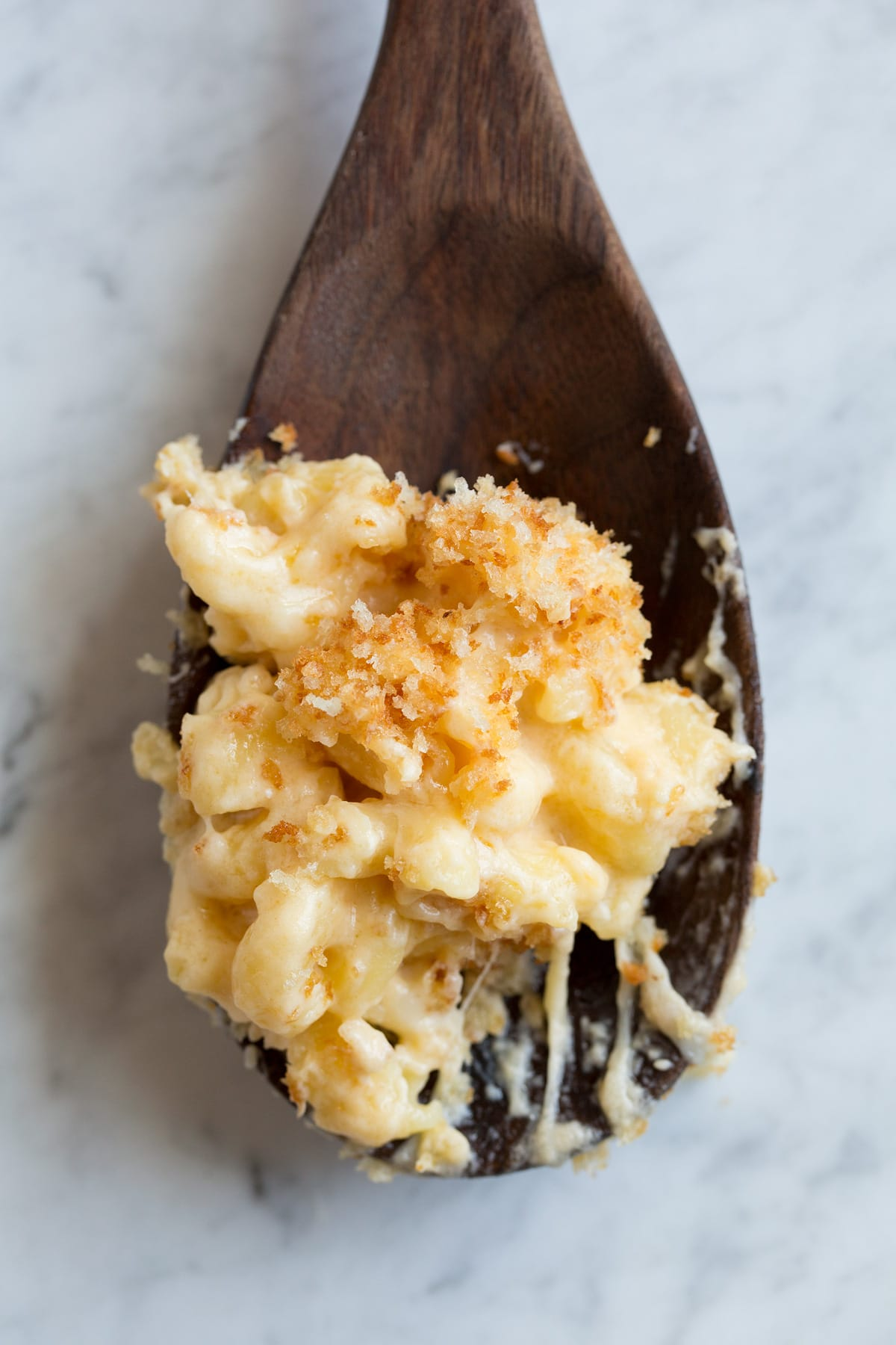 Close up image of scoop of macaroni and cheese topped with toasted panko bread crumbs.