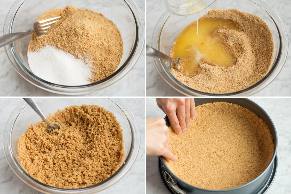 Showing steps to making a cheesecake graham cracker crust.