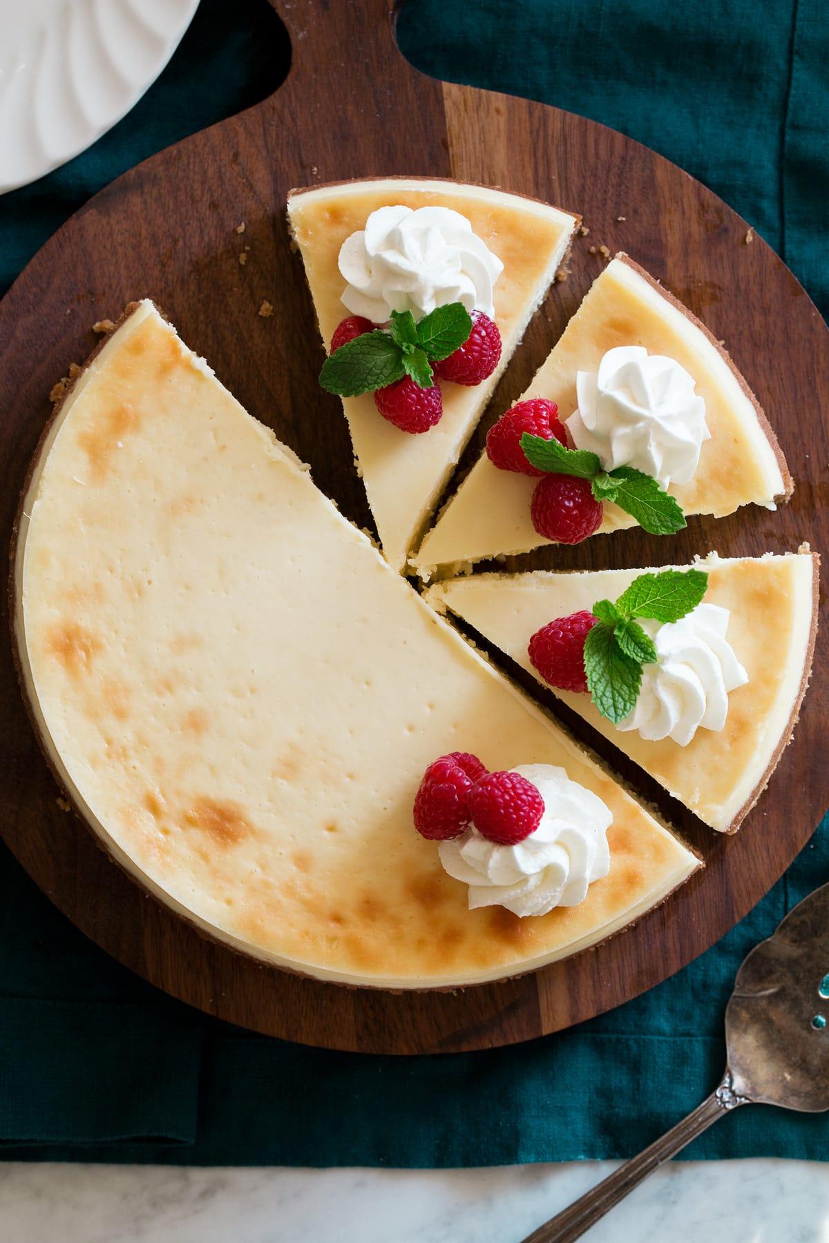 Overhead image of sliced cheesecake.