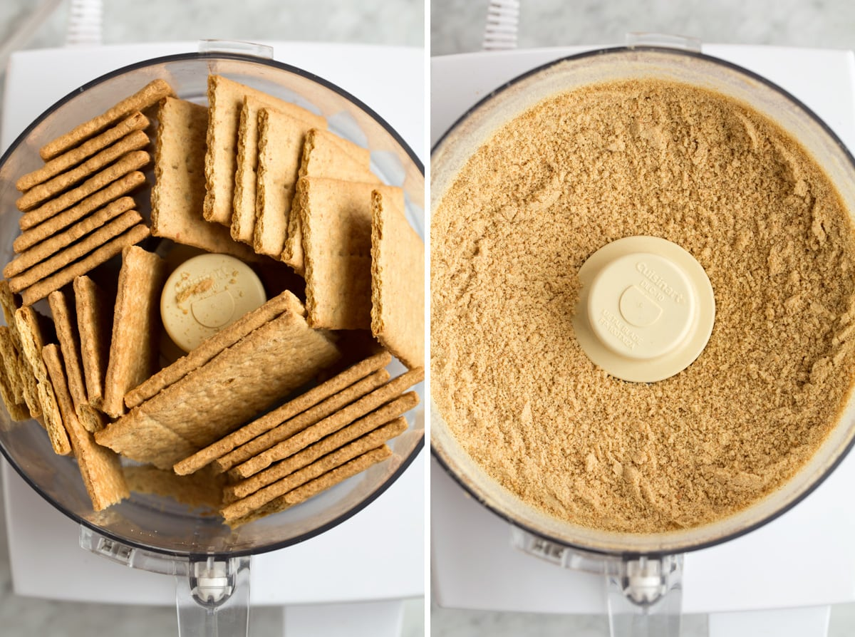 showing how to crush graham crackers in a food processor