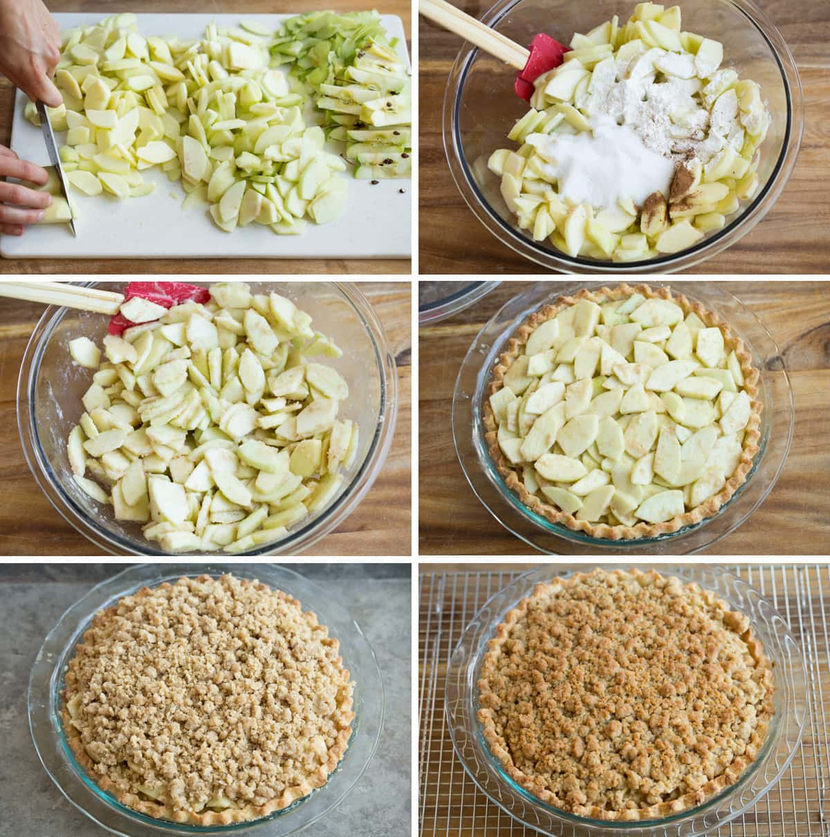 Showing how to prepare apple filling for dutch apple pie, and assembling pie.