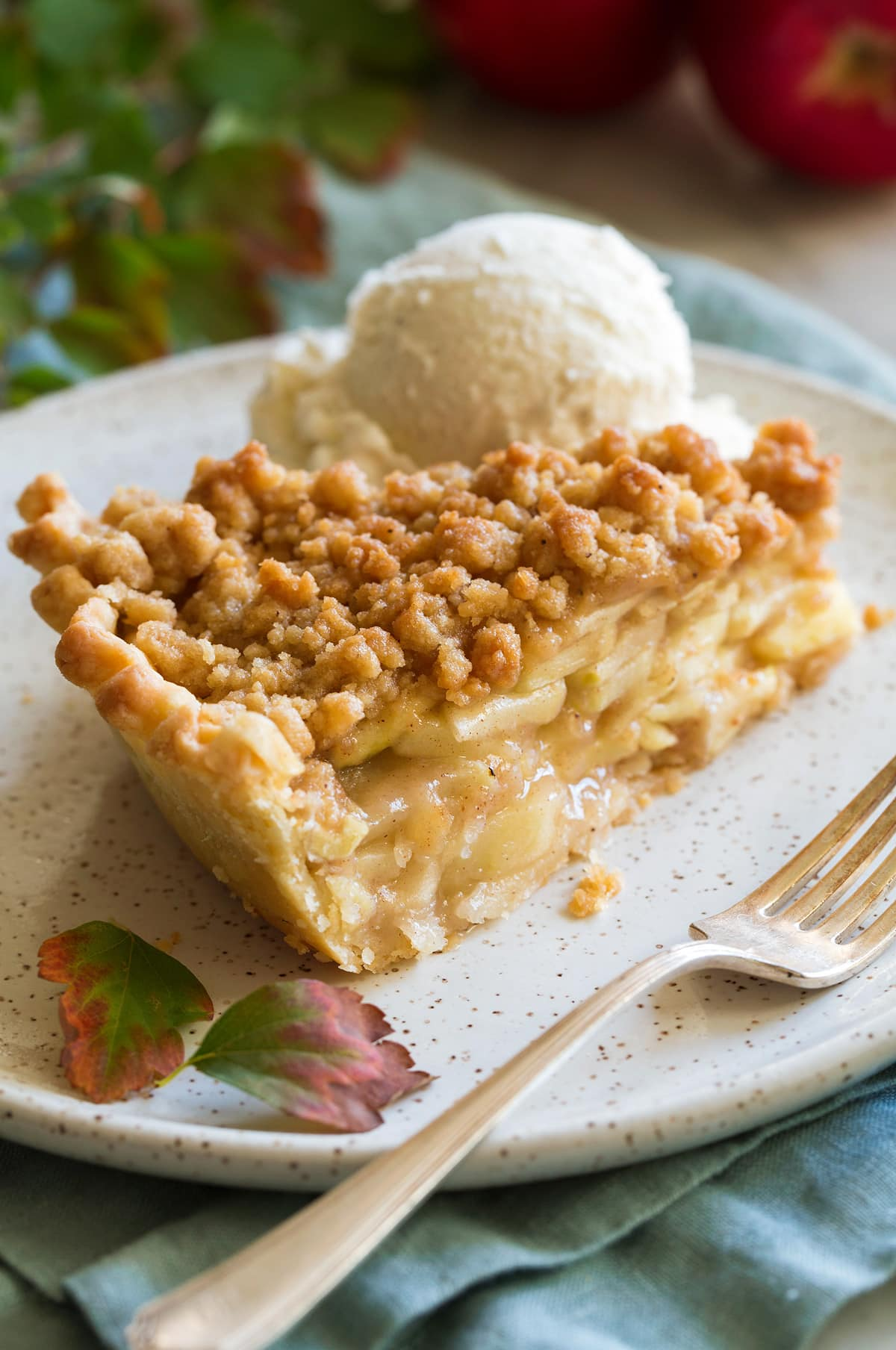Slice of dutch apple pie in a dessert plate with a scoop of vanilla ice cream on the side.