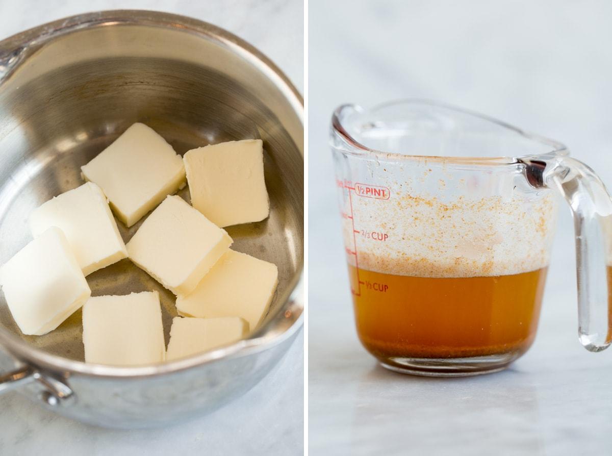 Hình ảnh bên trái cho thấy bơ thái hạt lựu trong một cái chảo sau đó hình ảnh thứ hai bên phải cho thấy bơ nâu trong một cốc đo chất lỏng.