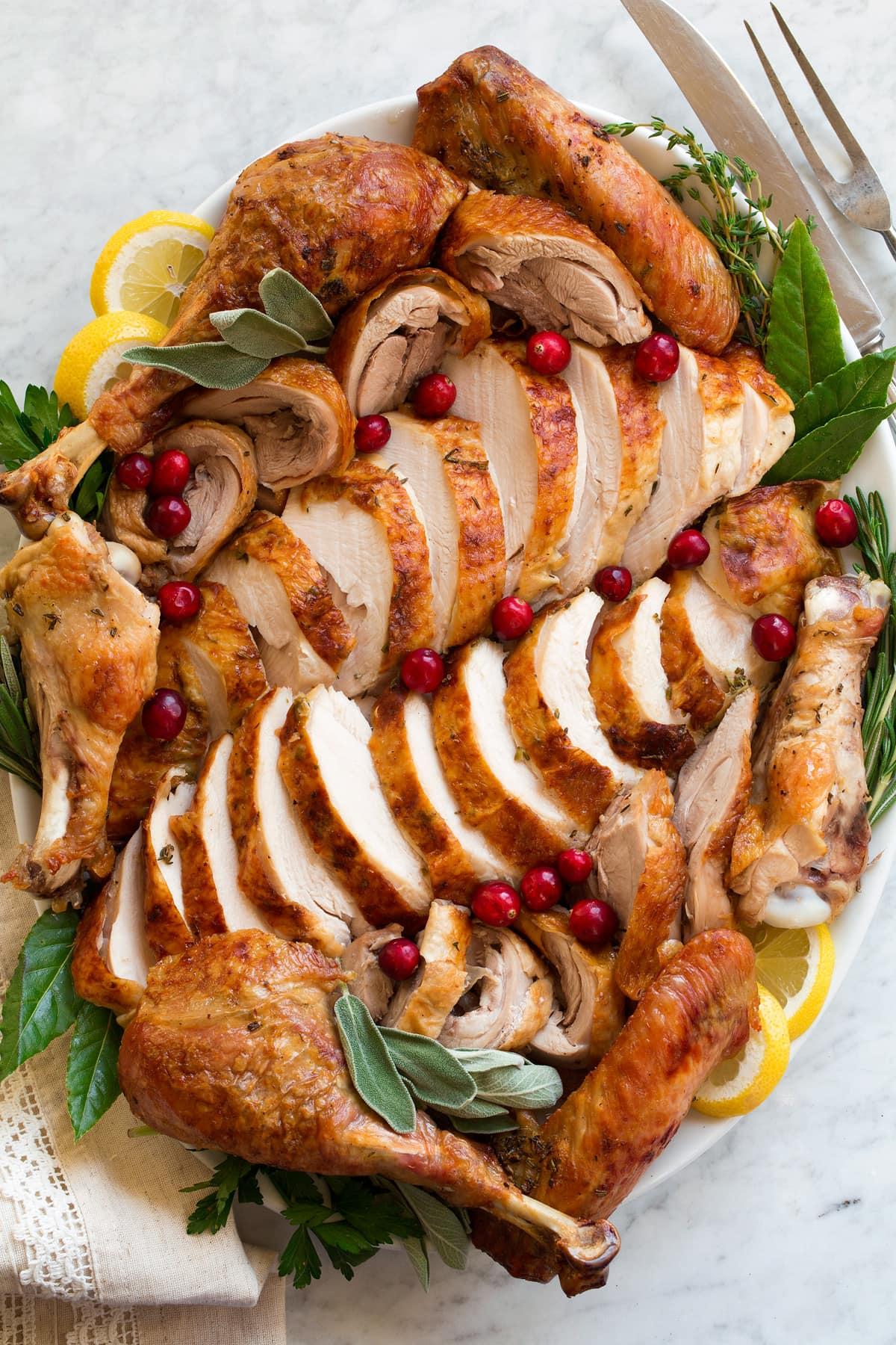 Carved turkey on a platter.