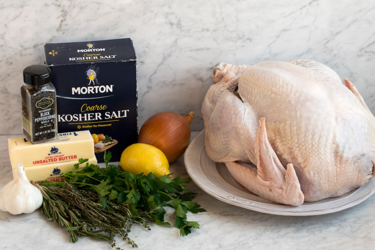 Ingredients needed to make a thanksgiving turkey.