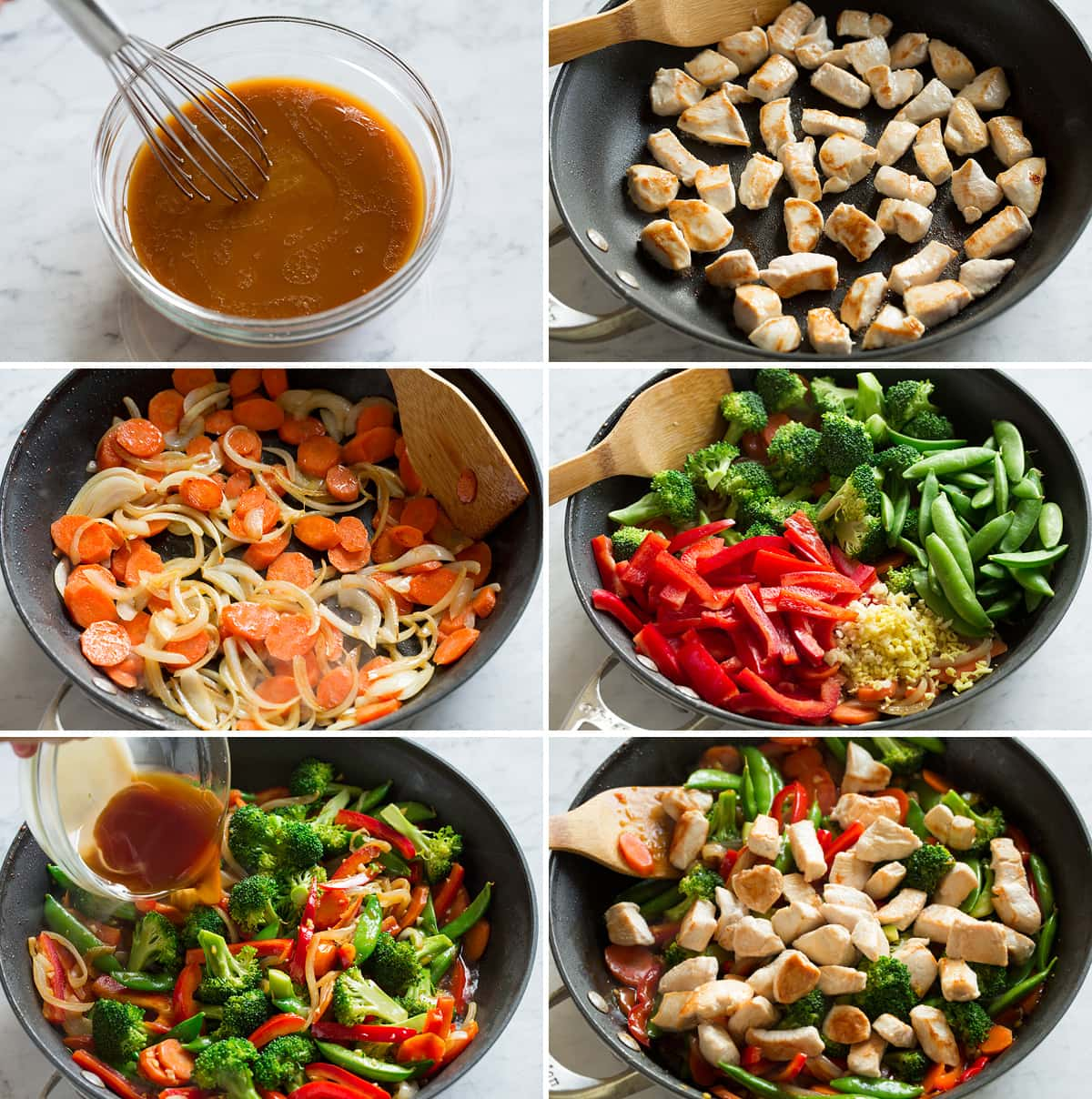 Steps showing how to make stir fry sauce and stir fry in a skillet.