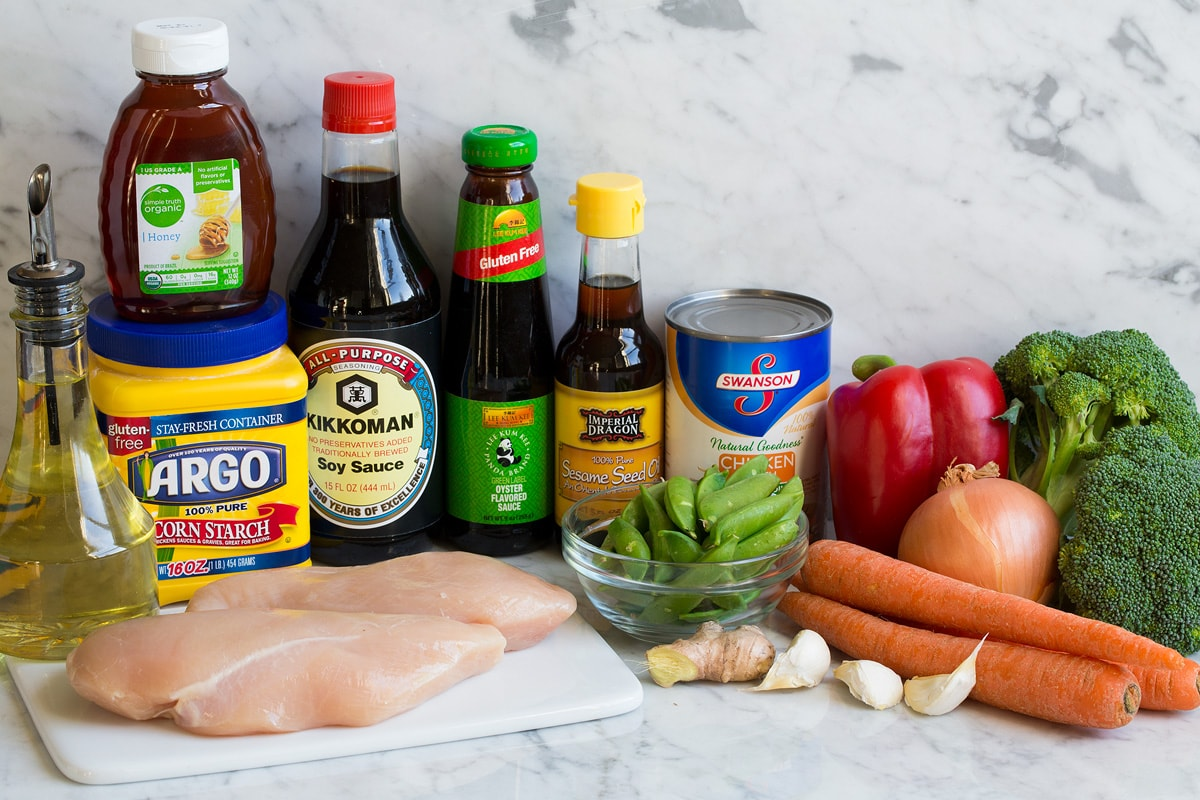 Image of ingredients that are used in chicken stir fry.