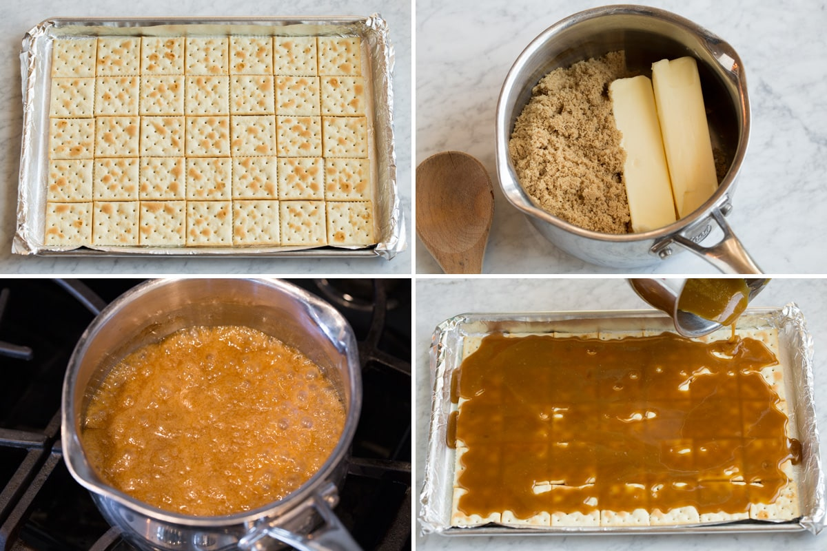 Steps to making Christmas crack toffee.