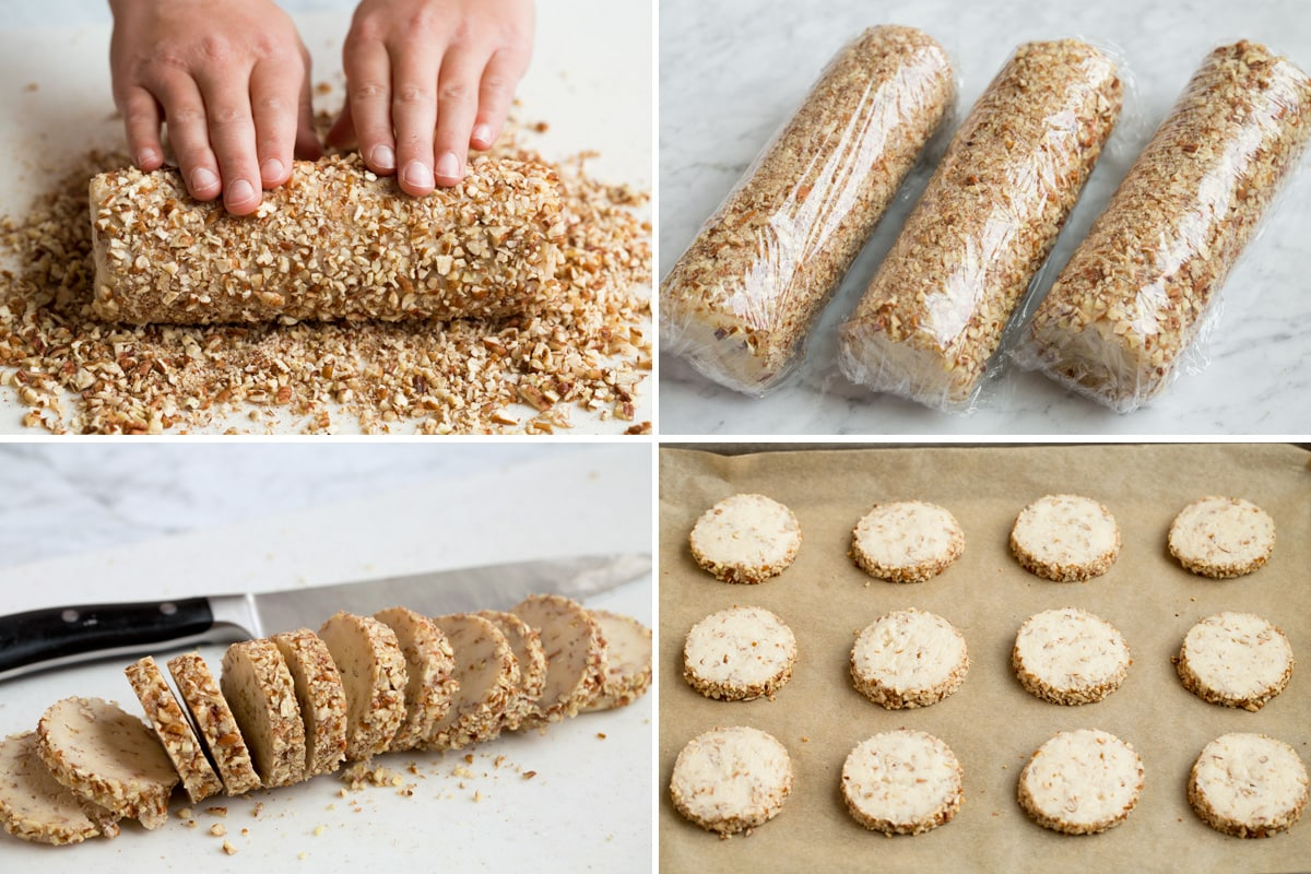 Image showing steps to rolling and slicing and baking cream cheese pecan cookies.