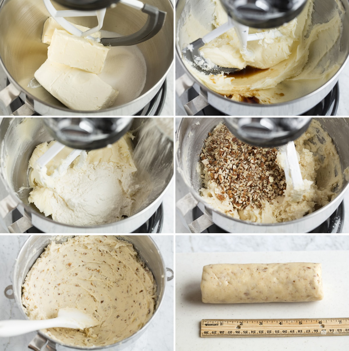 Image showing how to make cream cheese pecan cookie dough in an electric stand mixer bowl.