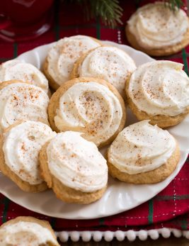 Image of plate full of frosted eggnog cookies.